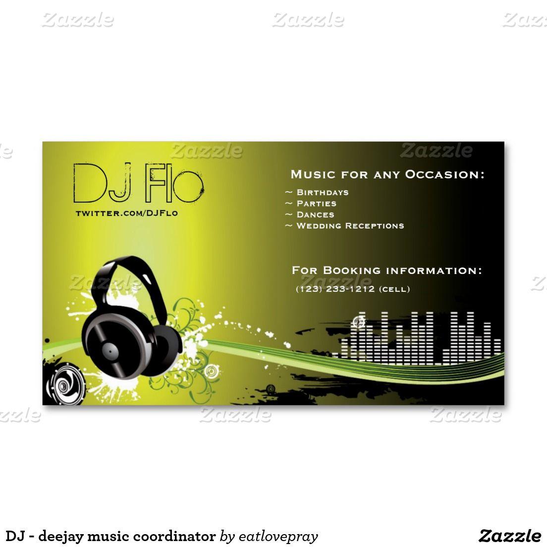Dj Deejay Music Coordinator Business Card Zazzle Com Music Business Cards Dj Business Cards Dj