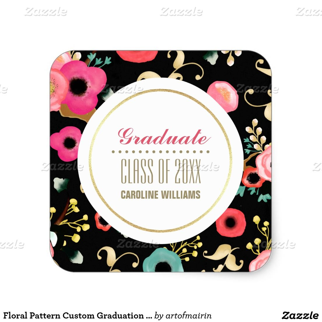 Floral Pattern Custom Graduation Stickers