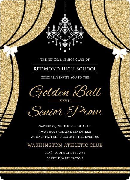 Elegant Faux Gold Glitter Curtain Prom Invitation