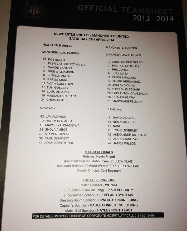 United v Newcastle team sheet 542014 WORLD\u0027S GREATEST FOOTBALL - baseball stats spreadsheet