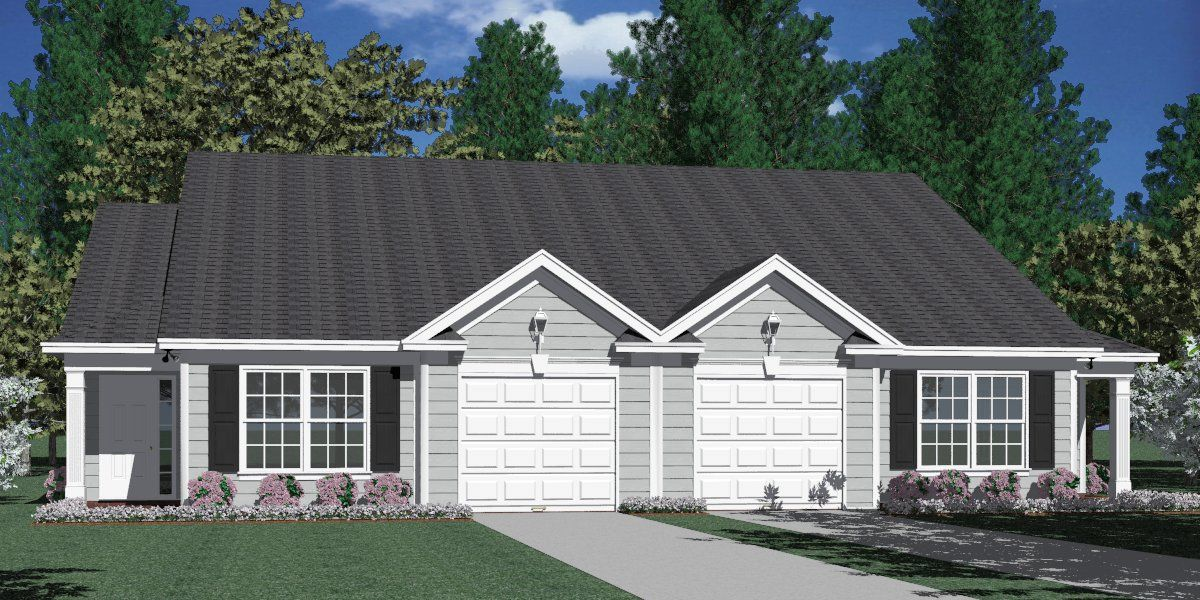 House Plan D1196 B DUPLEX 1196 B elevation House