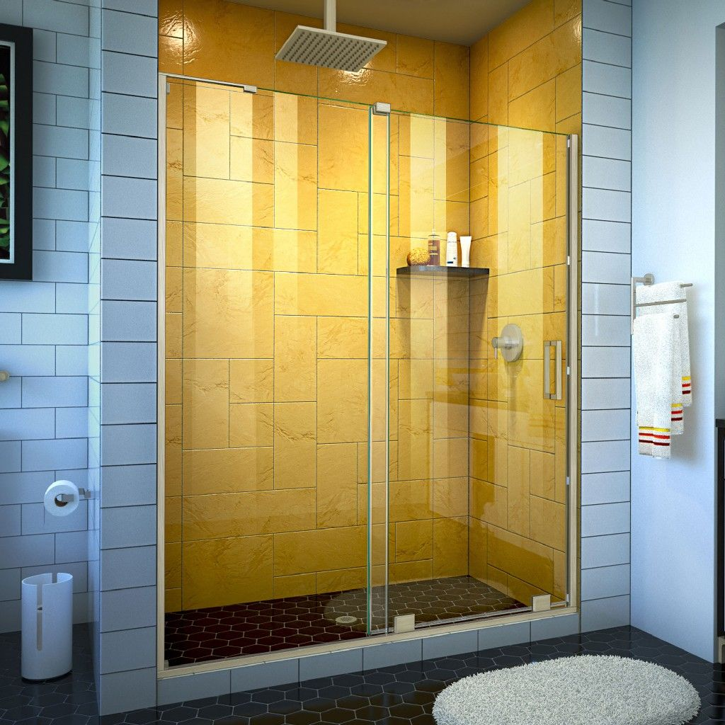 "Photo of DreamLine Mirage-Z 50-54 ""W x 72"" H Frameless sliding shower door made of brushed nickel – Dreamline SHDR-1954724-04"