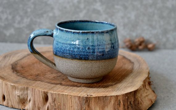 Large Pottery Coffee Mug, Ceramic Mug, Drinking Turquoise Ceramic Mug with Handle, 11 oz Tea Mug Set, Mom Gift #ceramicmugs