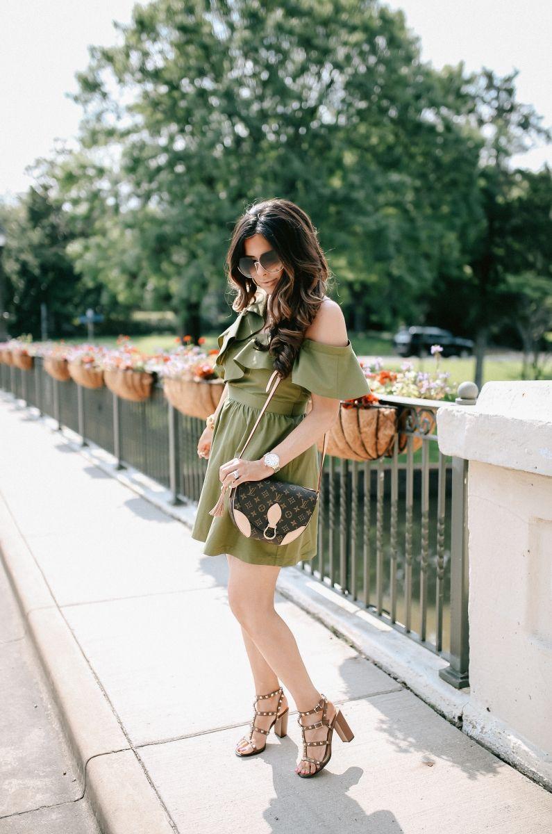 7684ac821c emily gemma, the sweetest thing blog, JOA ruffled olive one shoulder dress,  dallas fashion blog, louis vuitton Saint cloud, valentino rockstud sandals,  ...