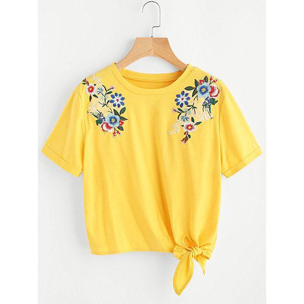 c9ca60cfc1d70 SheIn(sheinside) Embroidered Flower Applique Knot Hem Cuffed Tee (26 ...