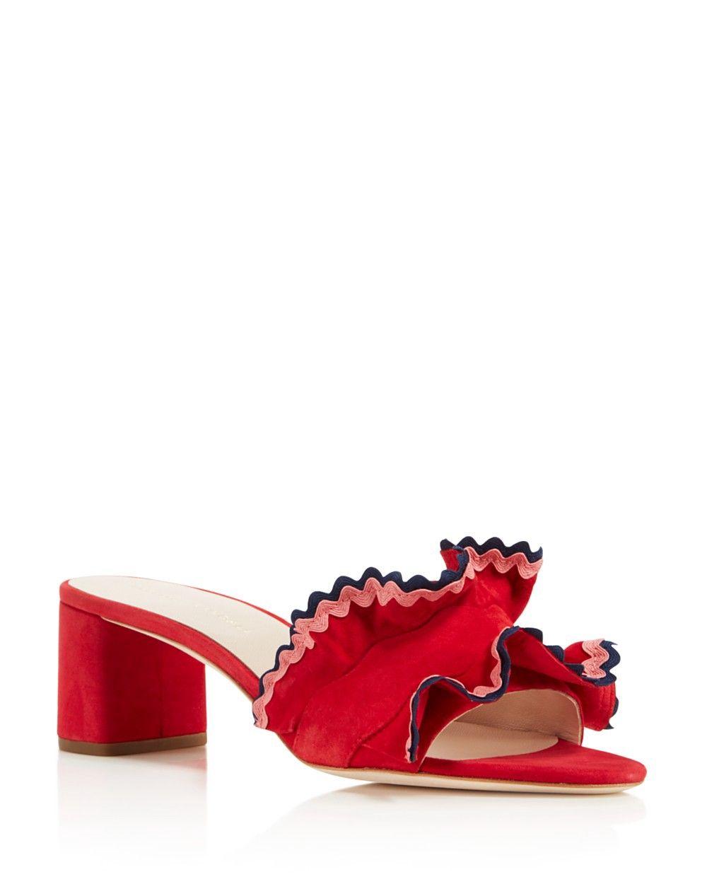 31c4ffab73d LOEFFLER RANDALL Loeffler Randall Women s Vera Suede Ruffle Block Heel Slide  Sandals.  loefflerrandall