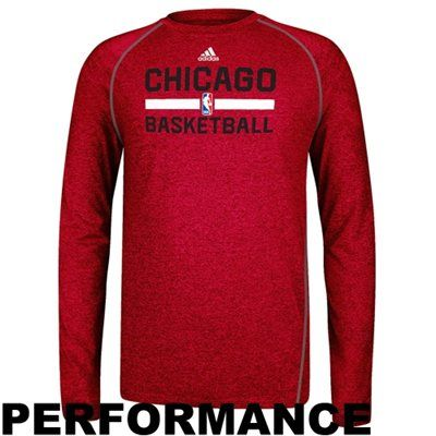 new product f9edd 9ef25 adidas Chicago Bulls Practice Performance Long Sleeve T-Shirt - Red