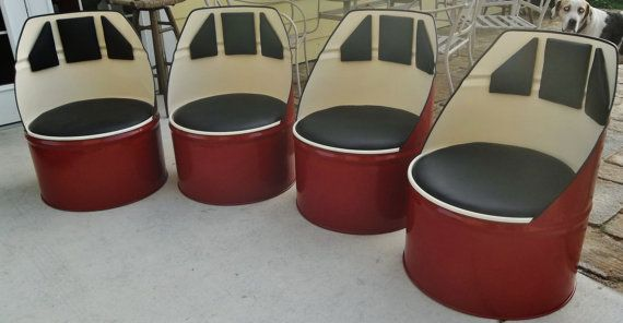 Upcycled Crimson and Cream Barrel Chair by DSMetalWorks ...