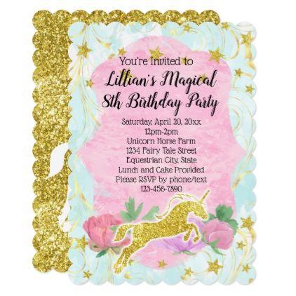 Pastel Gold Unicorn Birthday Party Invitation Birthday Pinterest
