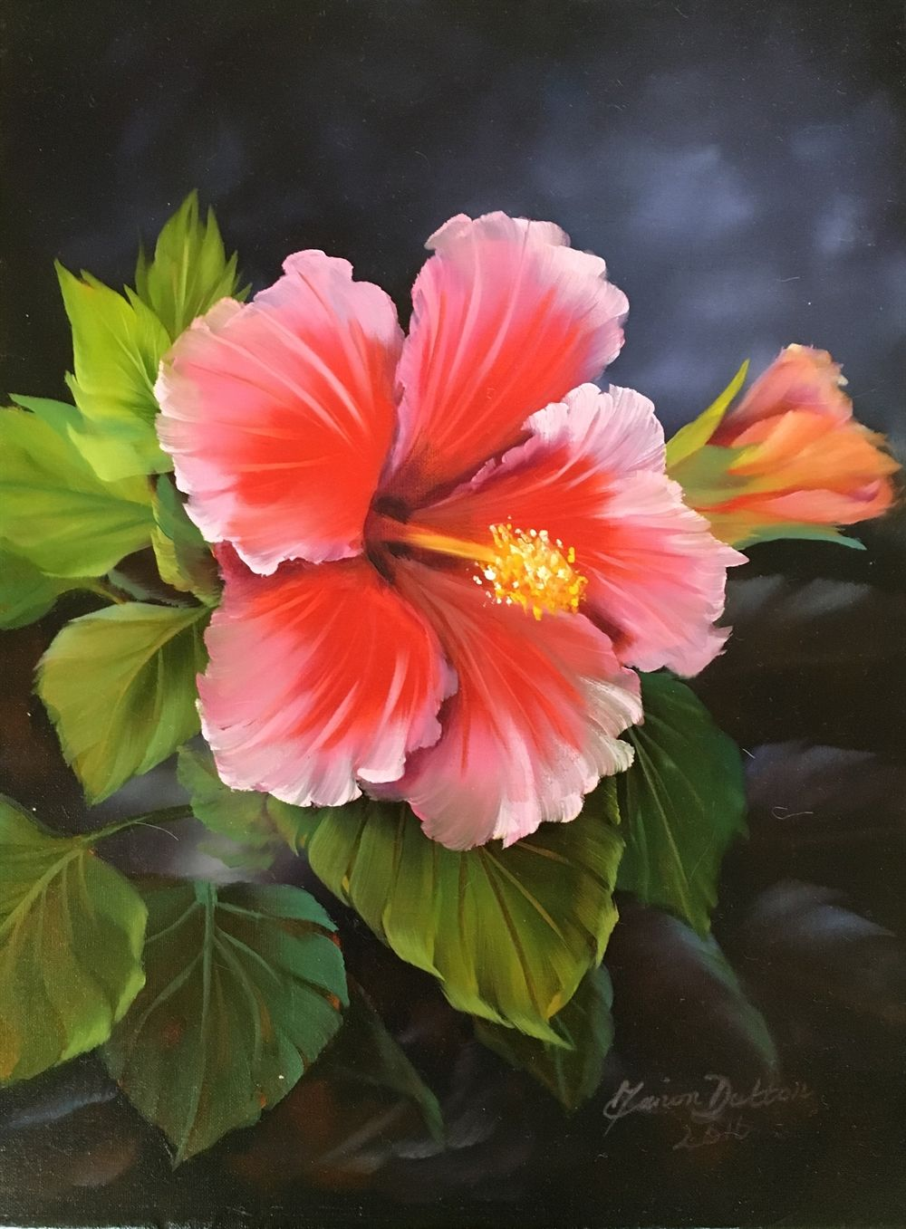 The Pink Hibiscus Oils Over Acrylic Flores Pintadas Pintura De Flores En Acrilico Pintura De Tulipan