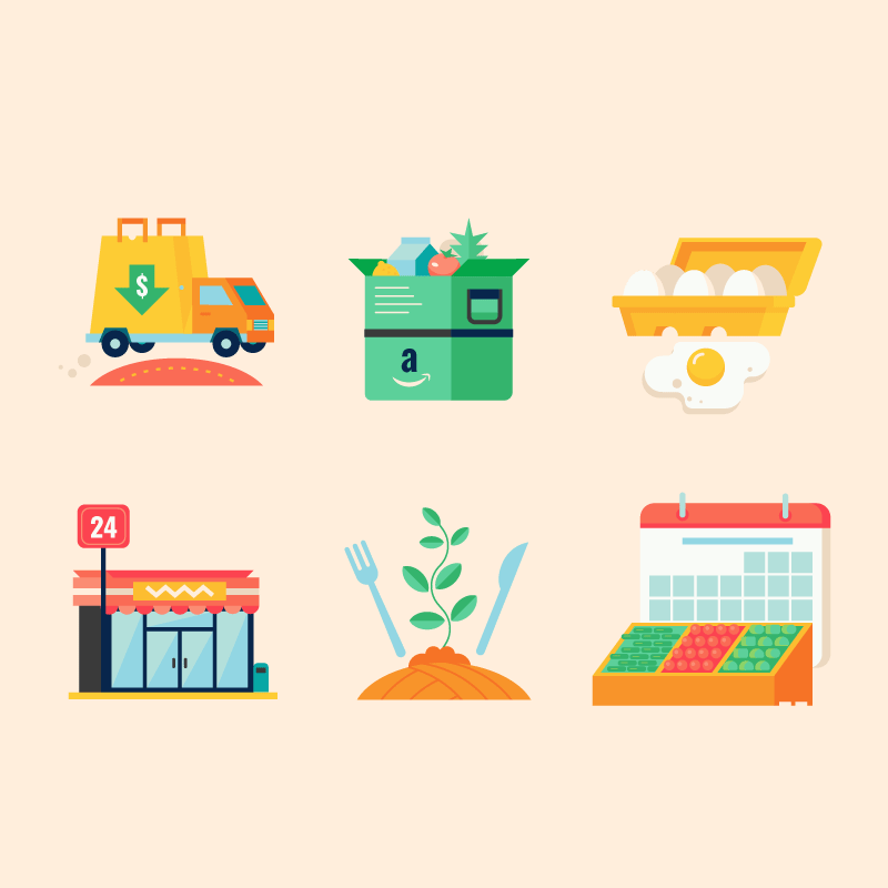 Series Of Icons For An Infographic About Grocery Stores Technology Is Having An Impact On Grocery Stores Creative Agency Creative Studio How To Draw Hands