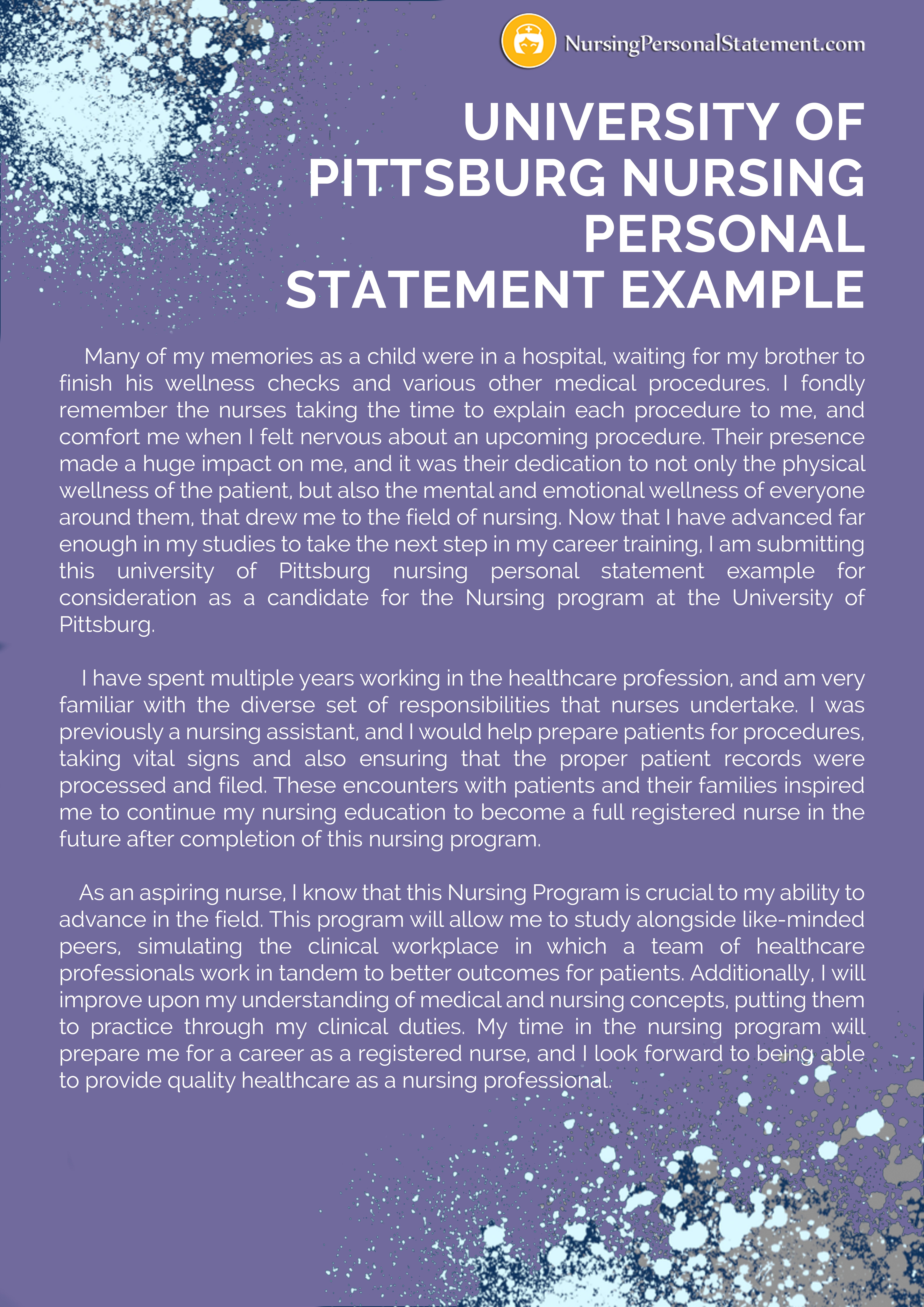 University Of Pittsburg Nursing Personal Statement Example Youtube