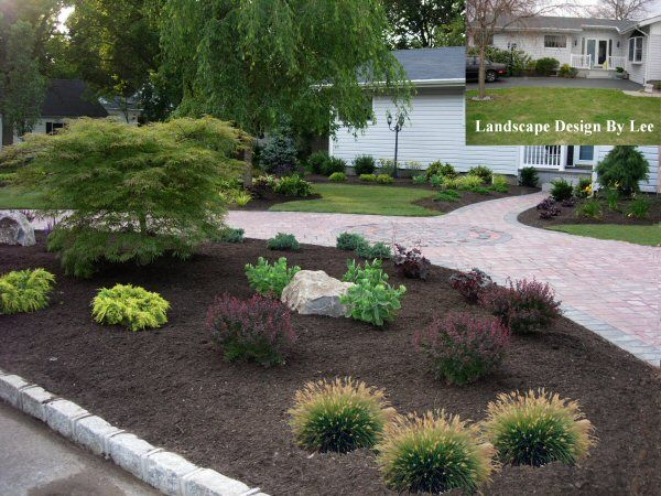 Landscape designs for house with circular driveway landscape design by lee long island ny Home driveway design ideas