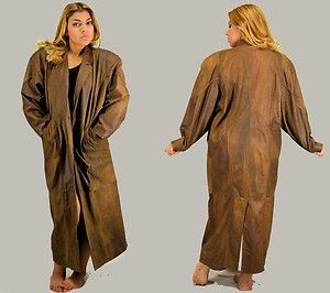 VINTAGE Super Long BROWN Leather Padded Shoulders 80s TRENCH COAT ...