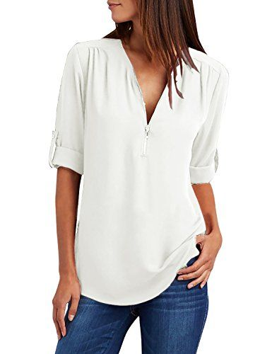 981ade4ccbec3 Yidarton Chemisier Femme Manches Longues Tunique Col V à Zippé Mousseline  Top Blouse Mode (Blanc XL)