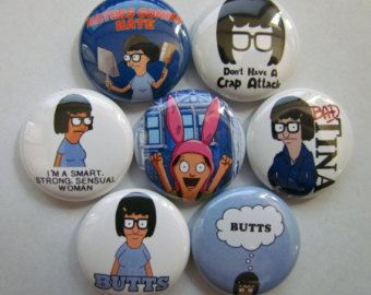 Tina Belcher Bob's Burgers Pinback Buttons Badges, Pins (7 pins)