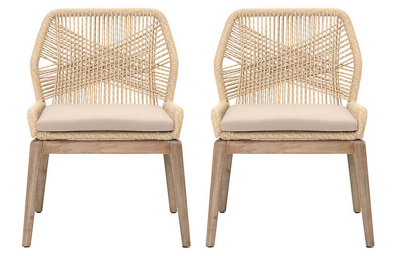 Set Of 2 Loom Side Chairs Natural Dining Chair Sets Dining