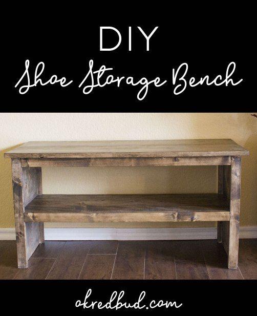 DIY Wood Shoe Storage Bench! Great for entryway, mudroom, spa bench ...