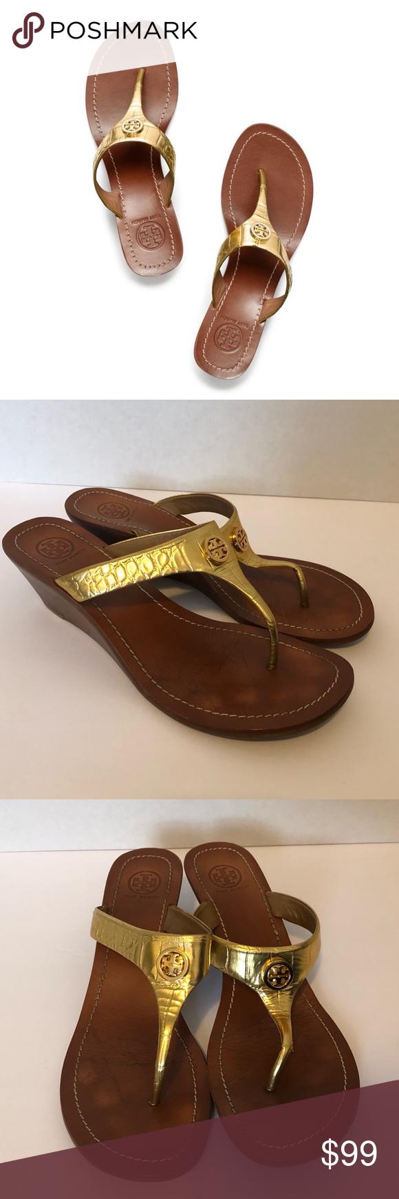 afa9013b0 Tory Burch Metallic Gold Wedge Thong Sandals EUC Tory Burch Cameron  Metallic Thong Wedge Sandals in