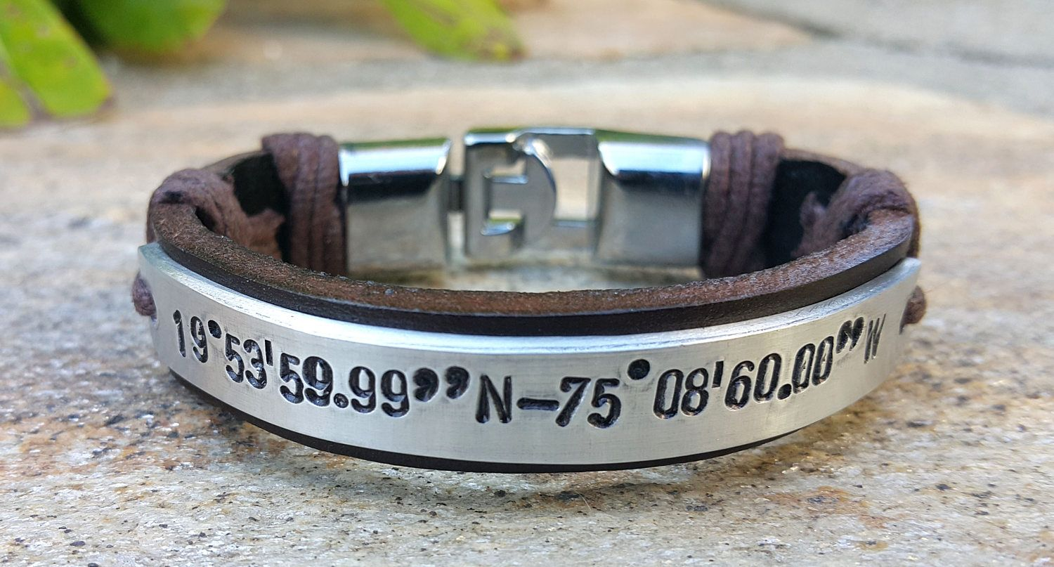 Custom Coordinates Leather Bracelet Engraved Gps Location Longitude And Laude Coordinate Jewelry Friend Gift Mothers Day