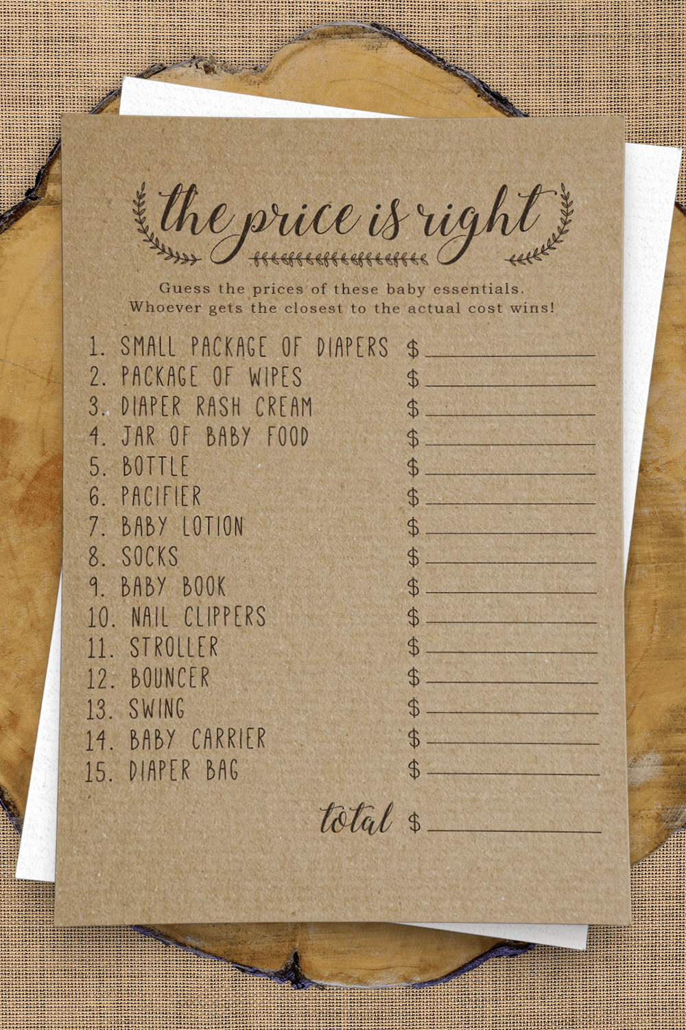 Price Is Right Answer Key : price, right, answer, Price, Right, Shower, Game,, Right,, Printable, Classy, Shower,, Games,
