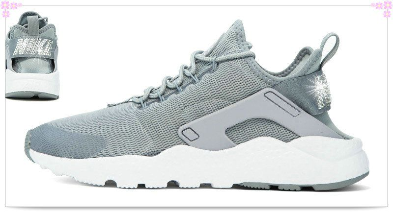 Over 70% Discount Off Popular 2017 Fashion glitter kicks Nike Air Huarache  Ultra Hand Customized Swarovski Crystals Back Grey 44ccf500f