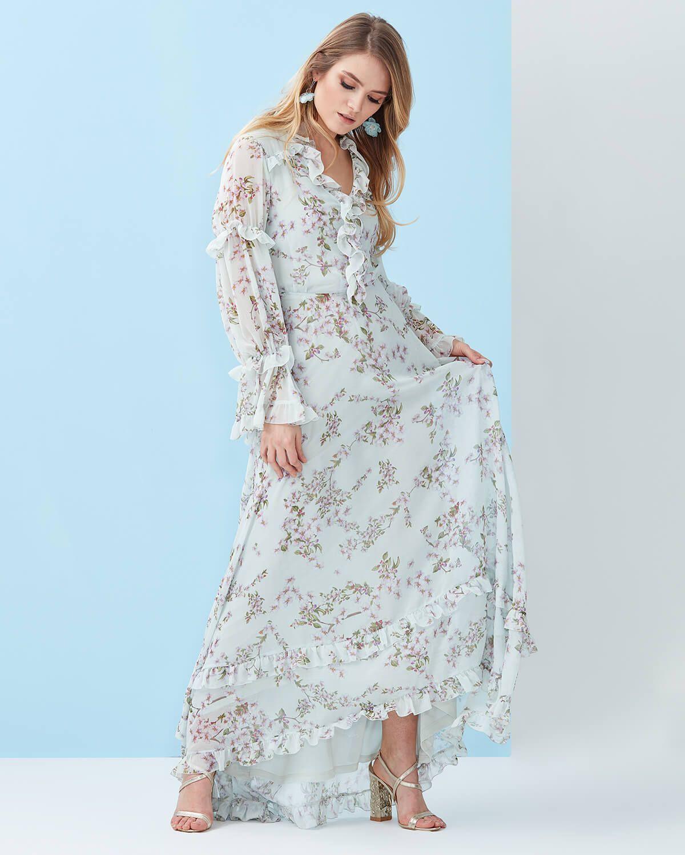 4cd5519957ff9 Uzun Boy Çiçekli Şifon Elbise - Ekru | Kıyafet Seçenekleri | Kıyafet ...
