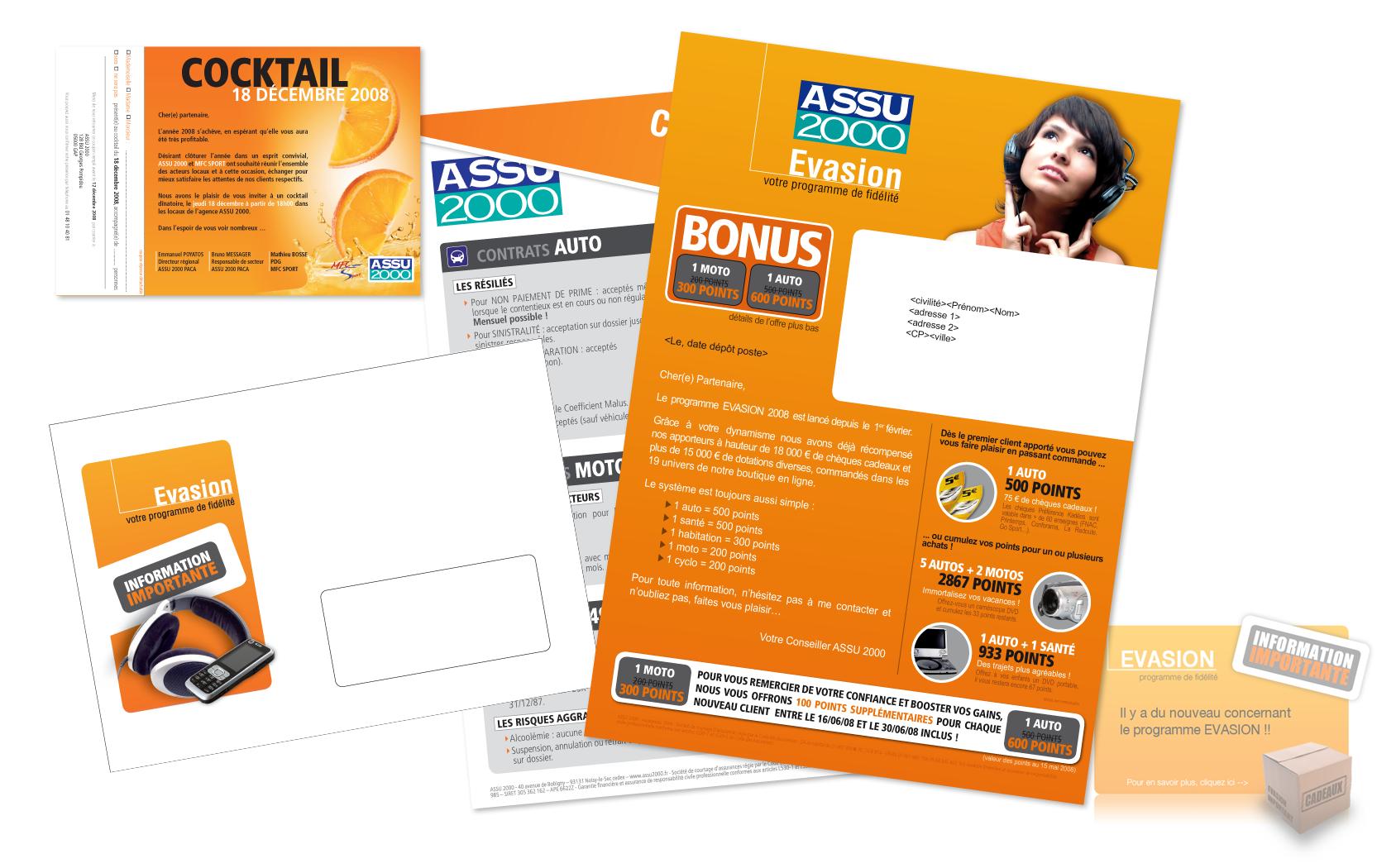 Kit de communication pour le programme d'incentive Evasion de la société Assu 2000.