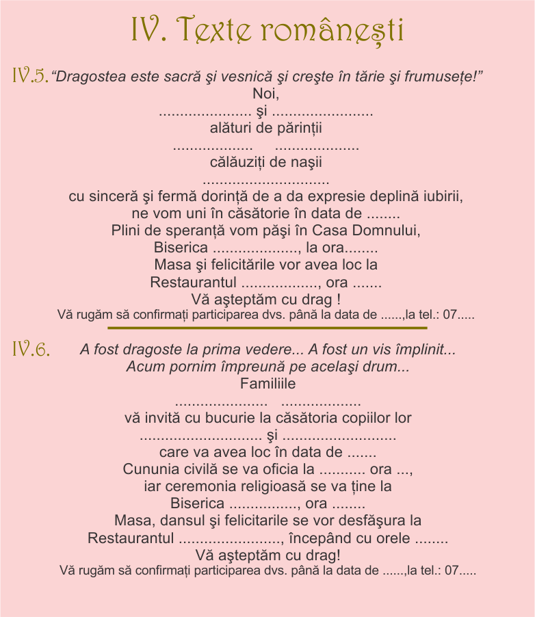 Texte Invitatie Nunta Invitatii Matrimonio