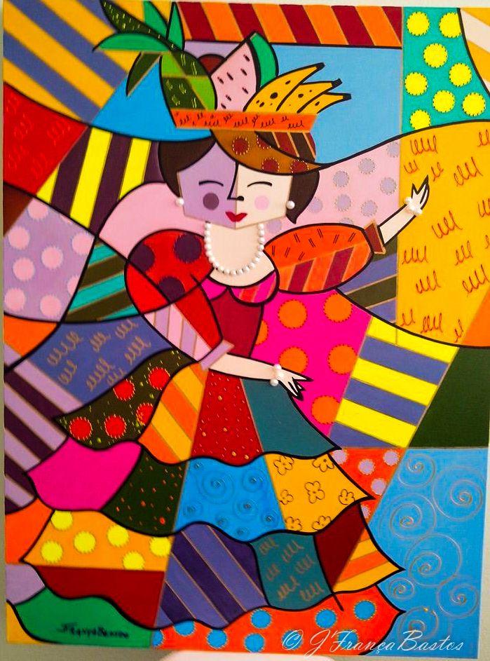 Pintura a óleo- Releitura Romero Brito- Carmen Miranda