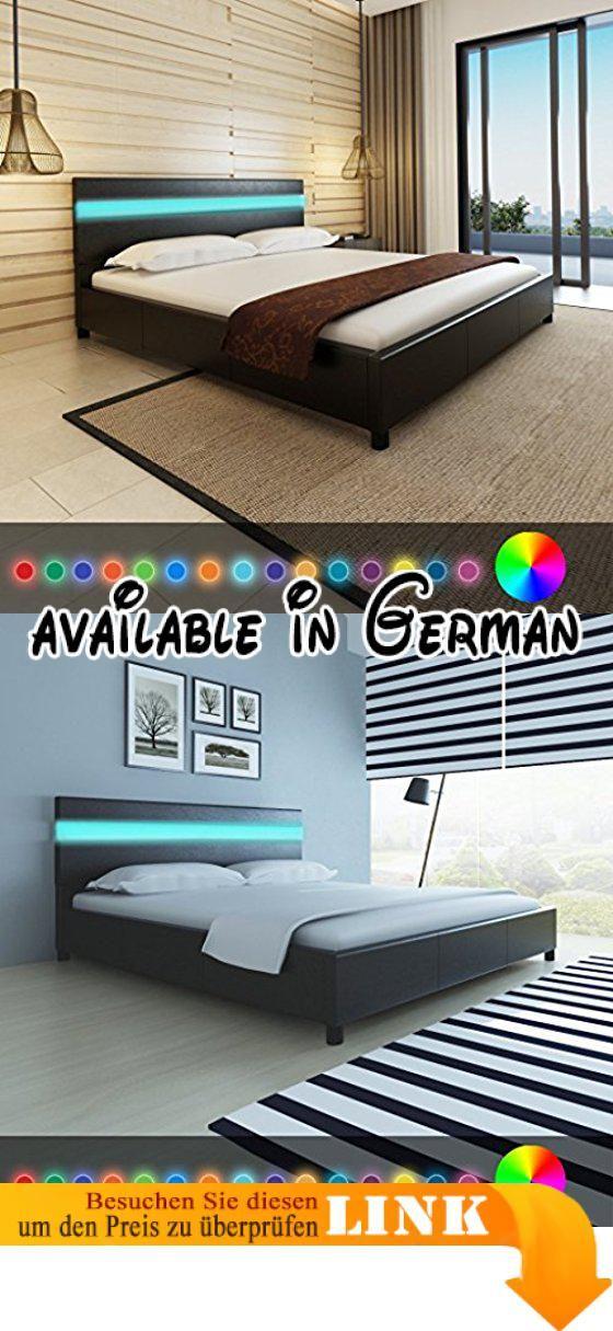 B06WLHHZW9  Anself Doppelbett Bett Ehebett Gästebett mit LED-Licht - komplett schlafzimmer mit matratze und lattenrost