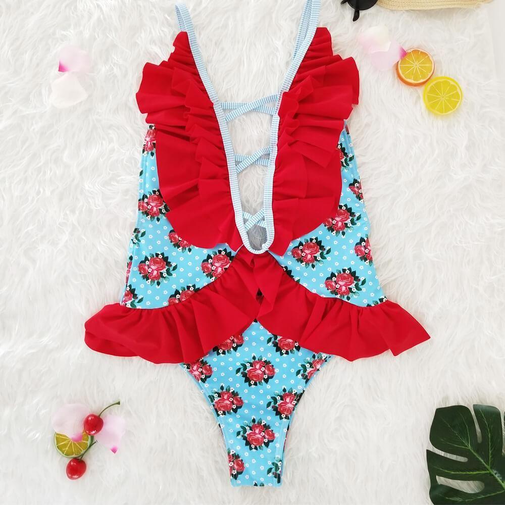 5c7d0543b5756 Floral Ruffles One Piece Bikini Set in 2018   Beachwear   Pinterest ...