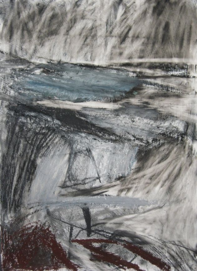 'Rainstorm, Jackson's Bay', Janine Baldwin, oil pastel, graphite and charcoal on paper, 40 x 29cm  www.janinebaldwin.com