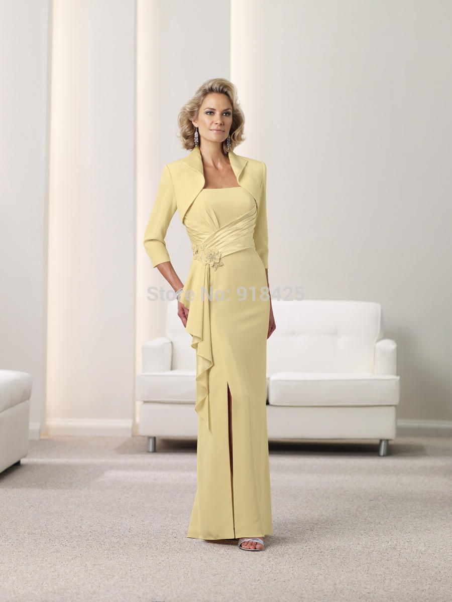 Full Length Sheath Yellow Mother of the Bride Jacket Dresses with ...