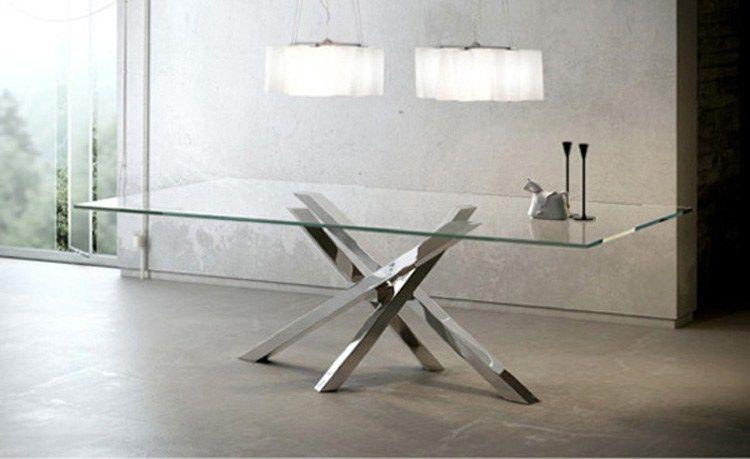 Tavolo In Cristallo Rettangolare.Tavolo Da Pranzo Rettangolare In Acciaio Inox E Cristallo