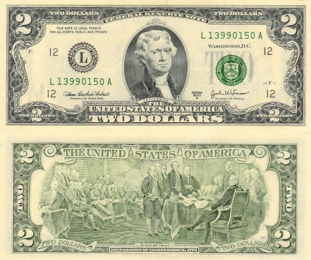 THOMAS JEFFERSON 3rd PRESIDENT DOLLAR NOVELTY BILLS Lot of 2 Bills