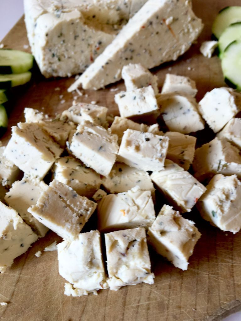Vegan Feta Cheese Slice Able Crumbly Perfect For Salads Pasta Dishes Recipe Vegan Feta Cheese Recipes Feta Recipes