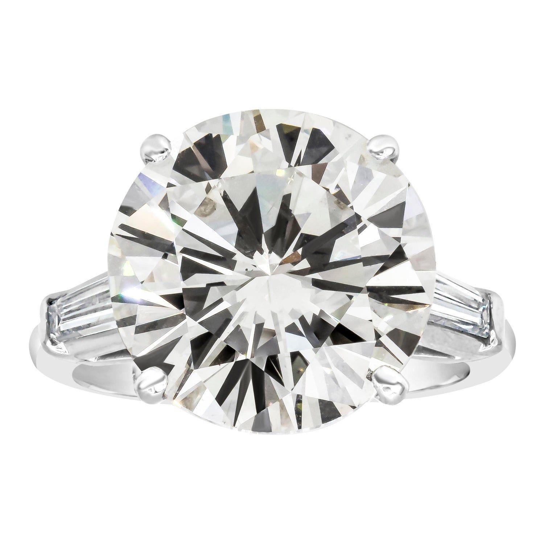 GIA Certified 10.11 Carat Round Diamond Three-Stone