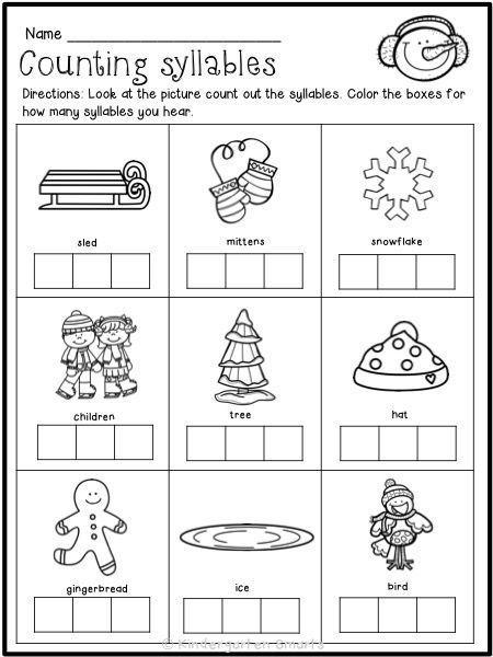 Winter Printables With A Freebie Kindergarten Smarts Kindergarten Freebies Syllable Worksheet Kindergarten Worksheets