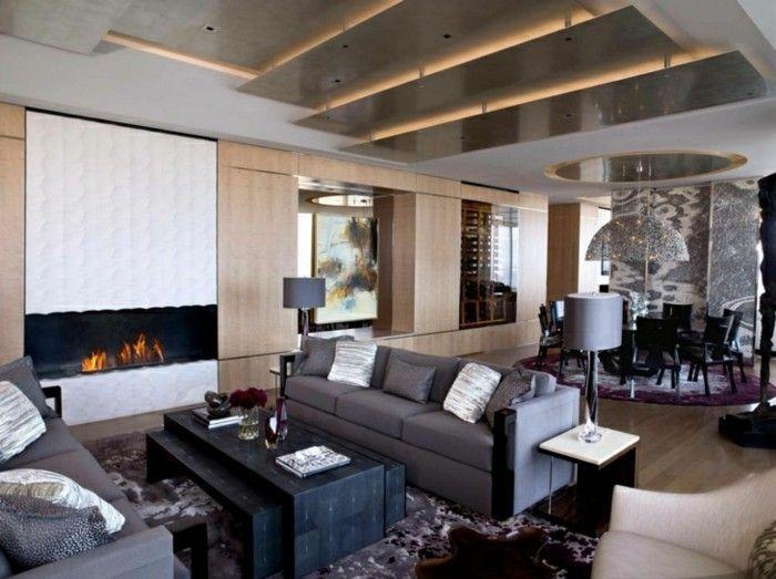 Deckengestaltung Wohnzimmer ~ Deckengestaltung im wohnzimmer graue möbel und ausgefallener
