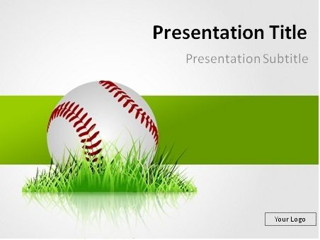 free baseball in the grass powerpoint template this powerpoint
