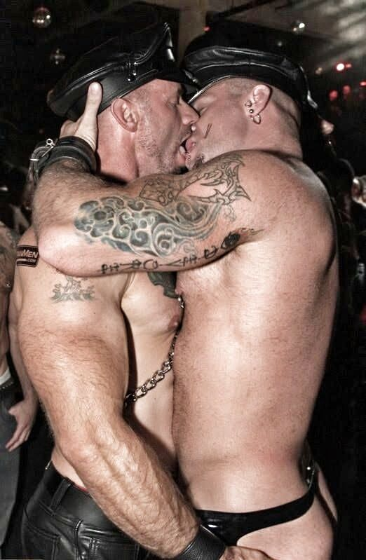 gay leather kiss