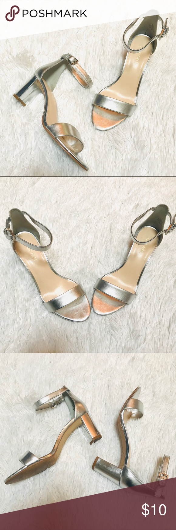 bfc08ae9aad NINE WEST Block heel silver heels They have small flaws on the heel  Reflected in price