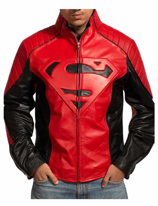 Smallville Superman Red Black Leather Jacket Jackets