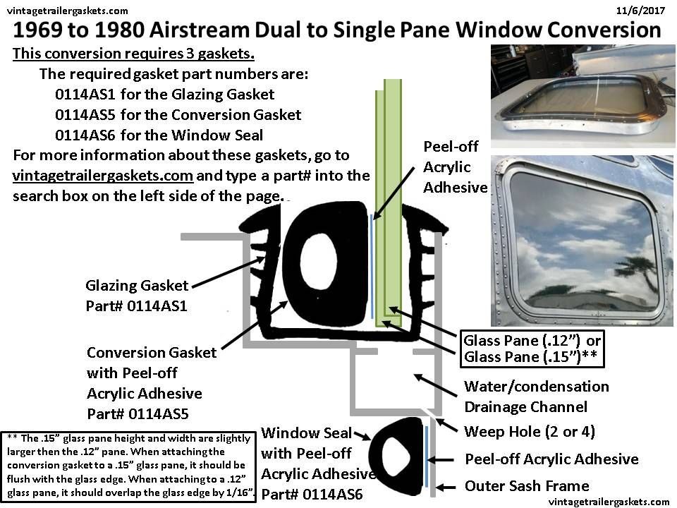 1969 to 1980 Airstream  This chart details how our conversion gasket