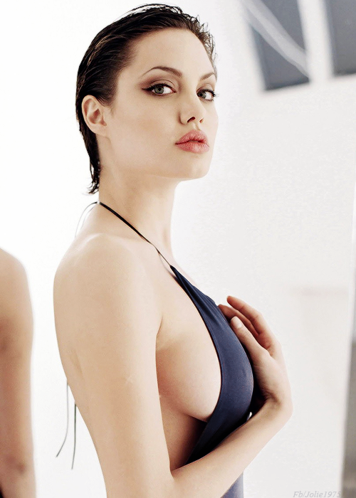 Angelina Jolie black swimsuit
