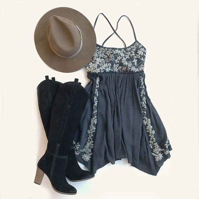 New Year, new #AEOSTYLE. Our Embroidered Babydoll Dress paired with @shopdolcevita Myste Tall Boots and a Lack Of Color Black Out Short Brim Hat is the perfect outfit to start 2015 in.