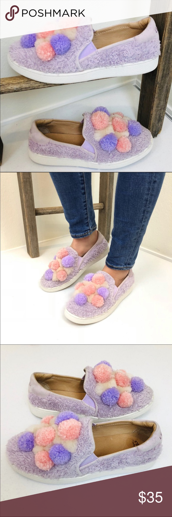 0607d4bd48e ➖UGG➖ Ricci Pom Pom Slip On Shoes Cozy cute slip on shoes. Elastic ...