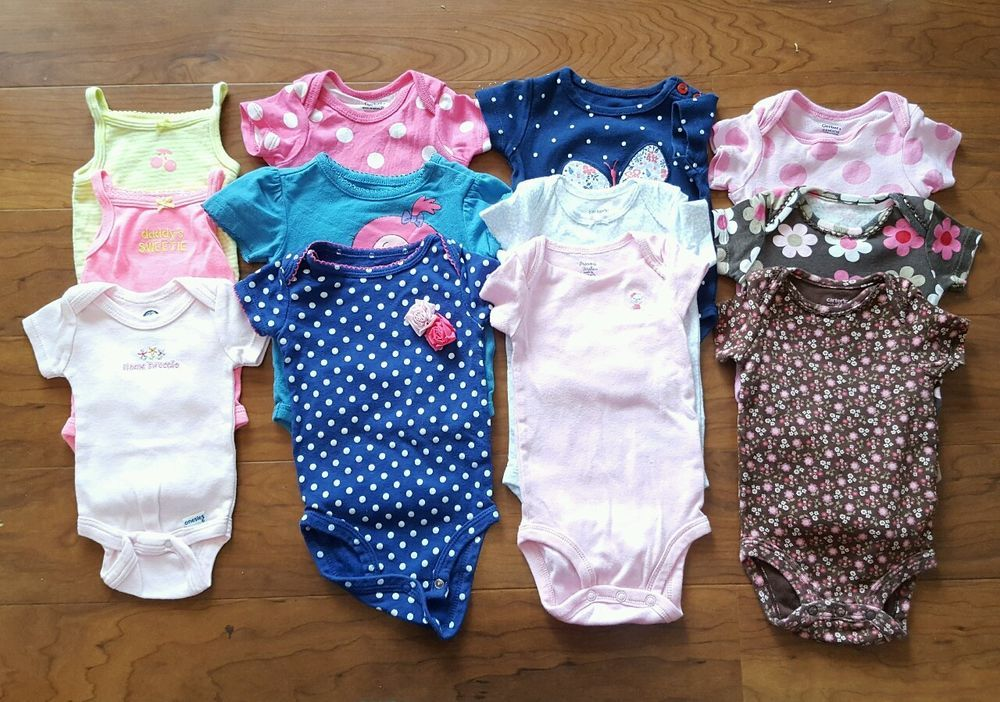 Baby & Toddler Clothing Lot Of 3 Gerber Carter's Girl Bodysuits Size 0-3 Months