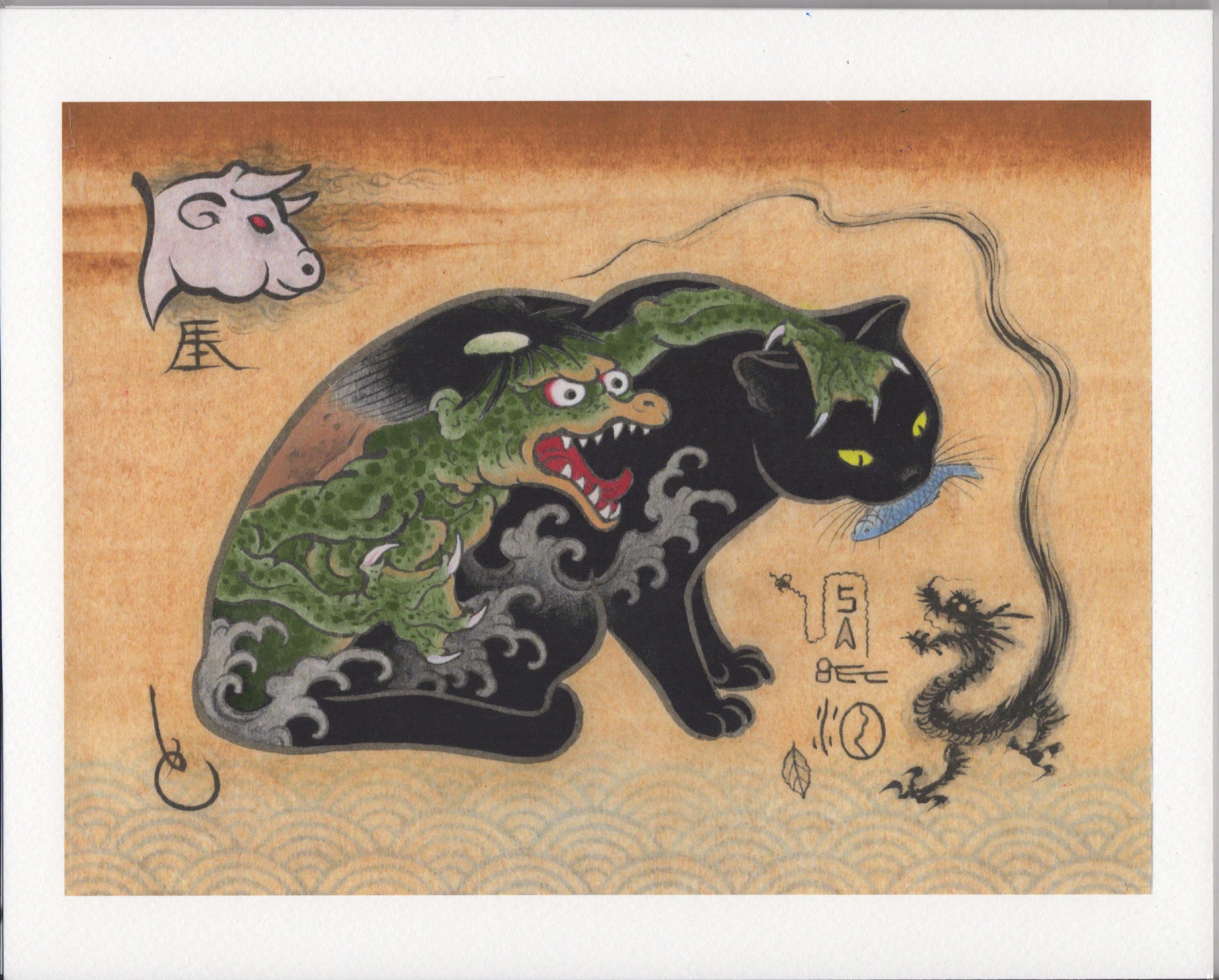 monmon cats kappa print tattoos pinterest cat printing and